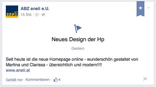 Aneli-Facebook-Eintrag